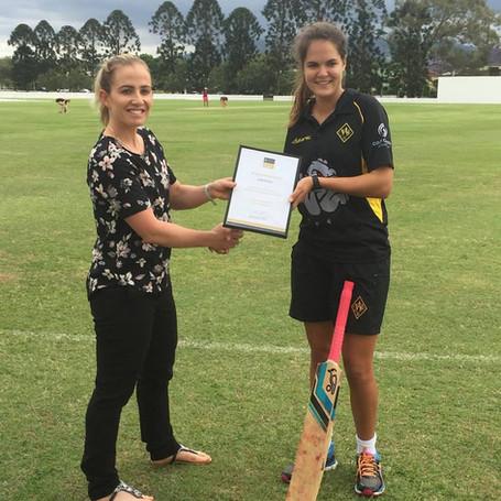 Jodie Fields Former Australian Cricket Captain with Scholarship Recipient, Agency X, Jodie Fields Young Cricketer Development Scholarship