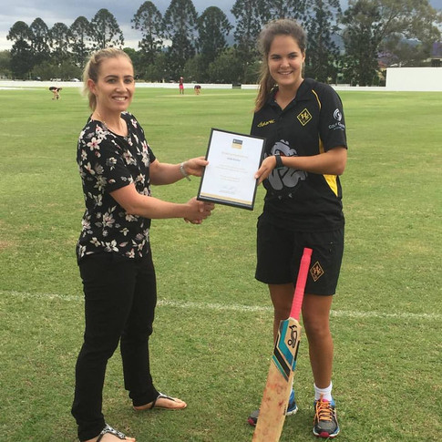 Jodie Fields Former Australian Cricket Captain with Scholarship Recipient, Agency X, Jodie Fields Young Cricketer Development Scholarship