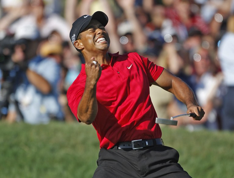 Tiger Woods, Tiger Woods Red Polo, Tiger Woods Fist Pump, Tiger Woods Athlete Brand
