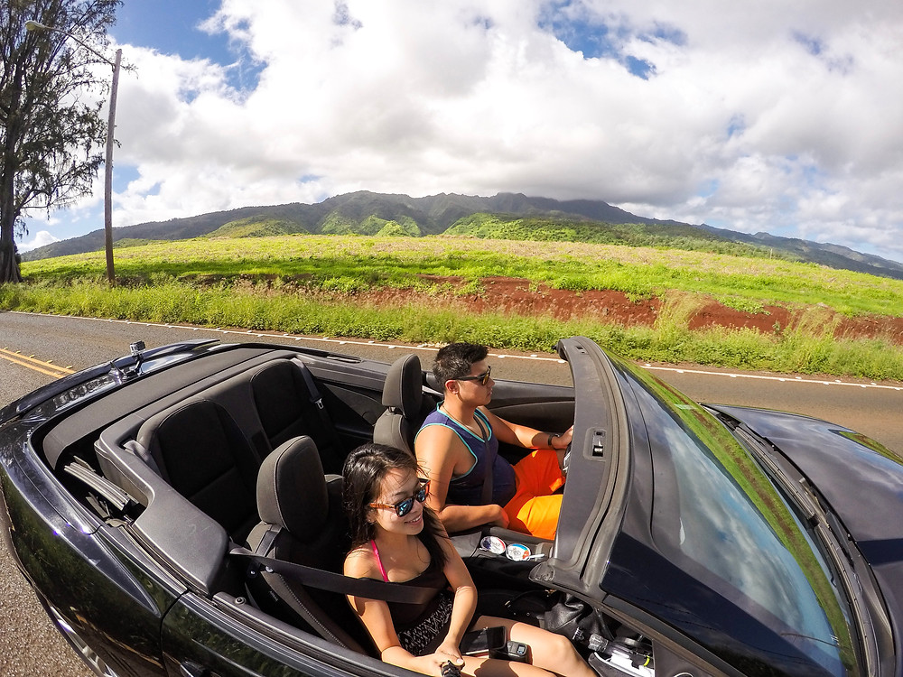 Driving to North Shore Oahu