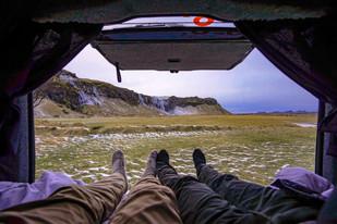 Seljalandsfoss from our Camper Van
