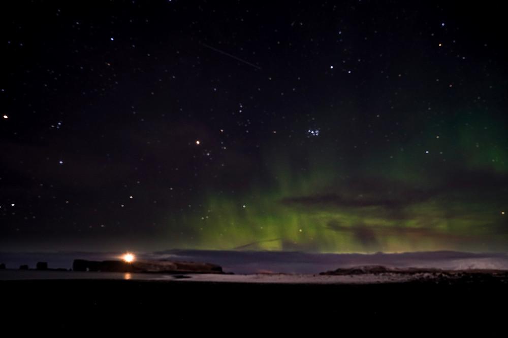 Northern Lights over the Reynisfjara Black Sand Beach