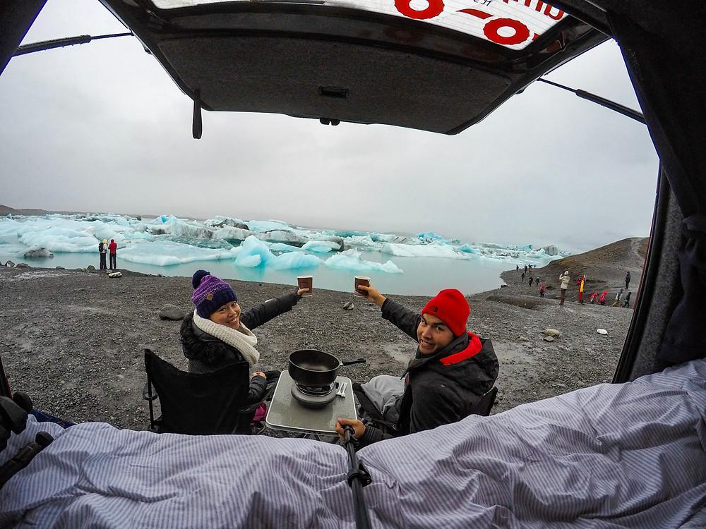 Eating a Hot Meal by the Jökulsárlón Glacier Lagoon