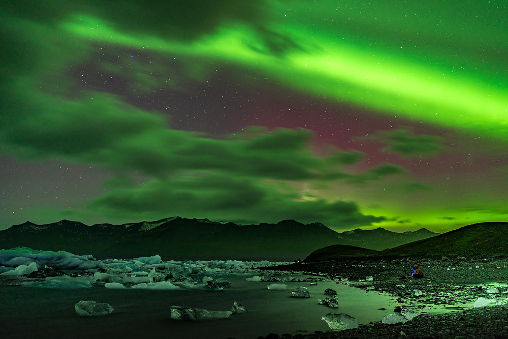 Northern Lights Over Jökulsárlón Lagoon