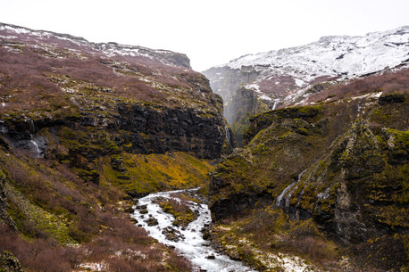 Stream from Iceland Glymur Falls