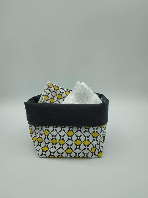 Panière avec lingettes lavables réutilisables en 15 cm lot de 6