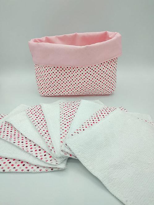 Panière avec lingettes lavables réutilisables en 10 cm lot de 6
