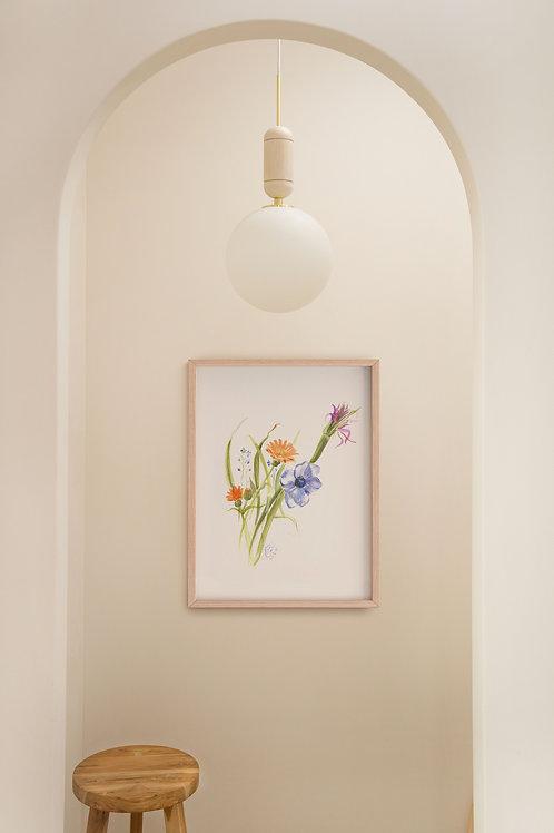 ORIGINAL ARTWORK - Bee friendly, anemone + wild flowers.