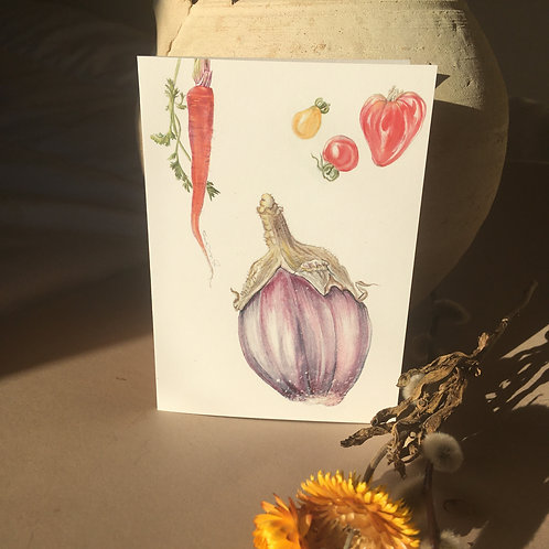 Irish grown Aubergine - A6 greeting cards