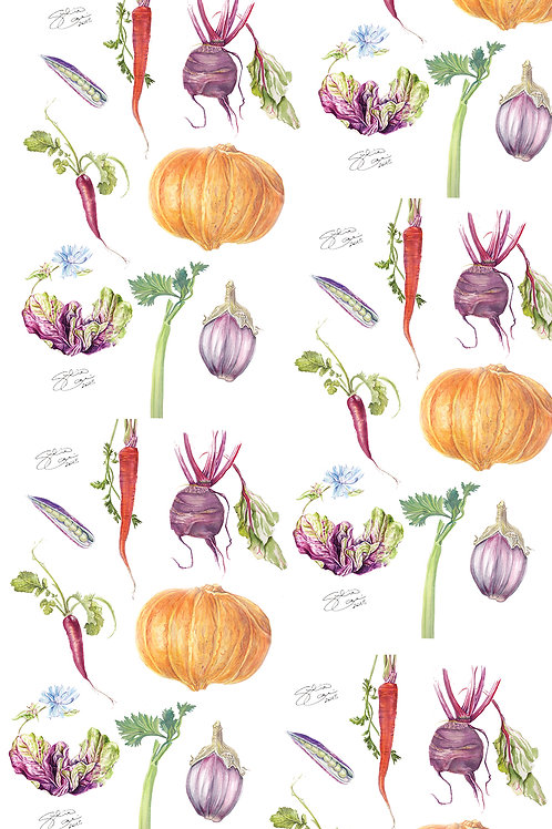 Tea Towel - The Irish Kitchen Garden - Mix Vegetables