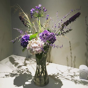 flower arrangement - purple and white