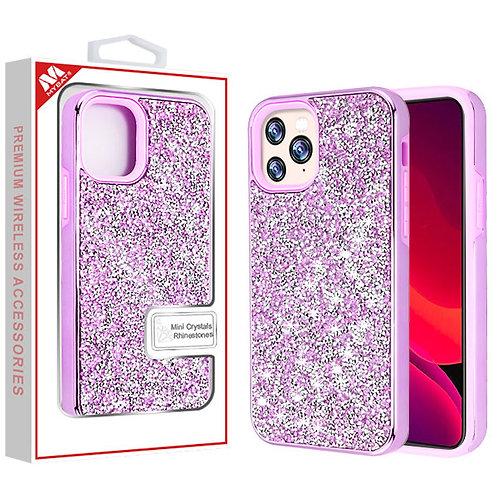 Iphone11 Pro_ Purple_Purple Encrusted Rhinestones Hybrid Case