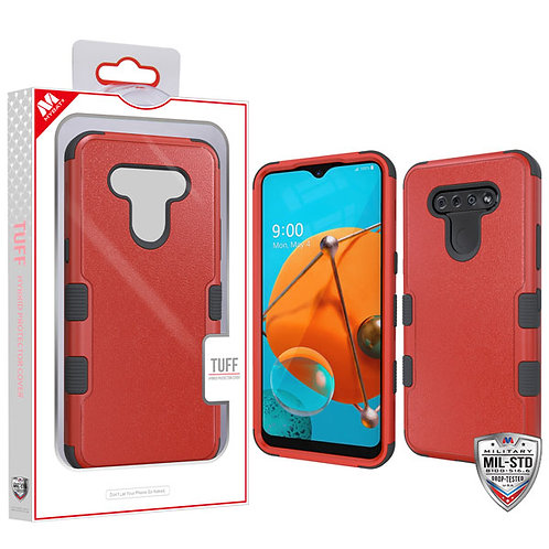 LG K51 - Mybat Natural Red_Black TUFF Hybrid Phone Protector Cover [Military-Gra