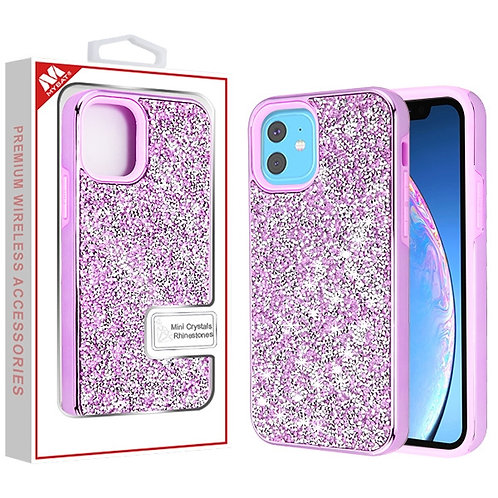 Iphone11 Electroplated Purple_Purple Encrusted Rhinestones Hybrid Case