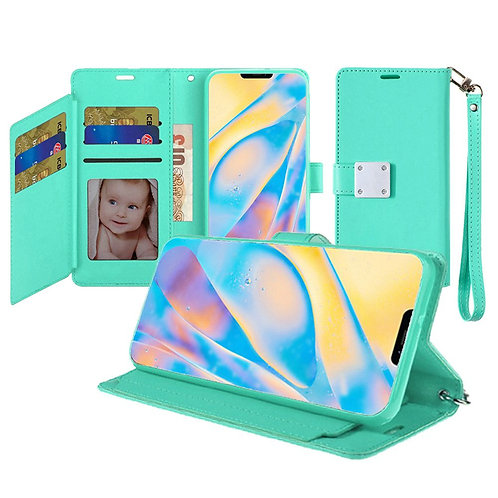 IPHONE 12 (6.1 INCH) WALLET FLIP CASE WITH CARD SLOTS TEAL
