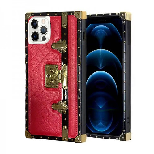 iphone 12 pro Max-VINTAGE OPULENCE - RED QUILTED TRUNK