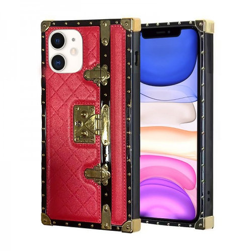 iphone 11-VINTAGE OPULENCE - RED QUILTED TRUNK