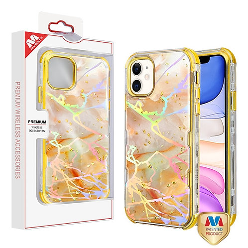 APPLE iPhone 11 - Mybat Pale Yellow Marbling_Electroplating Gold TUFF Kleer Hybr