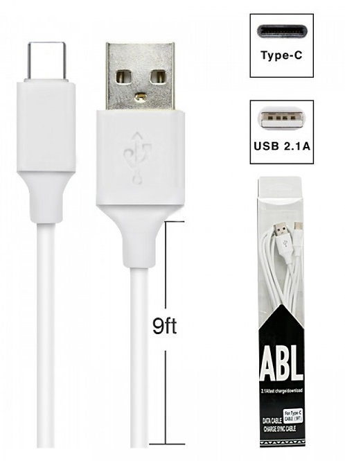 2.1A Fast Charge- Download Data USB Type-C Cable (9FT)- White