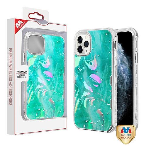 iphone 11pro(5.8) Green Marbling_Electroplating Silver TUFF Kleer Hybrid Case