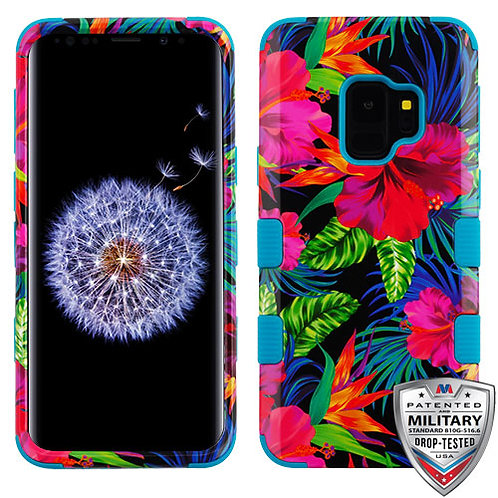 Samsung S9 Electric Hibiscus_Tropical Teal TUFF Hybrid Phone Protector Cover