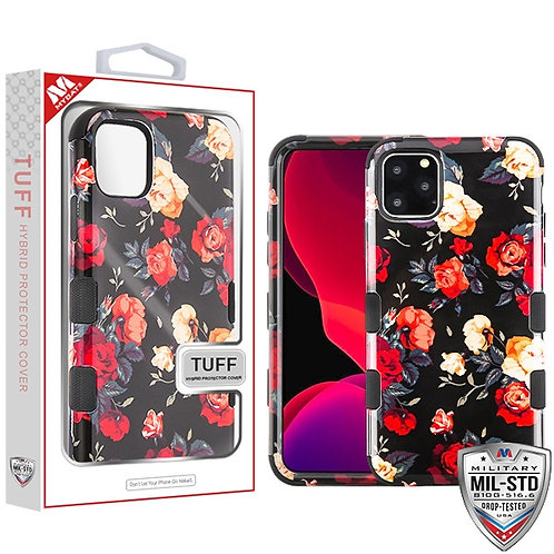 IP11HPCTUFFIM1035_Red and White Roses_Black TUFF Hybrid Phone Protector Cover