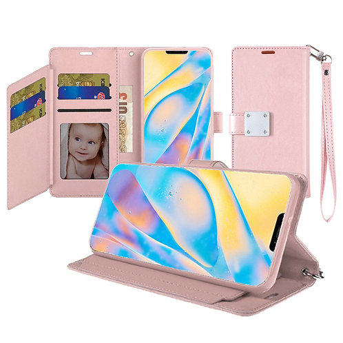 IPHONE 12 (6.1 INCH) WALLET FLIP CASE WITH CARD SLOTS ROSE GOLD