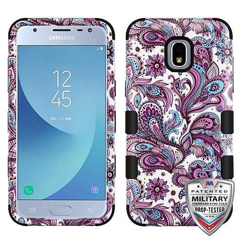 Samsung Galaxy J3(2018) Purple Flower_Black TUFF Hybrid Phone Protecto