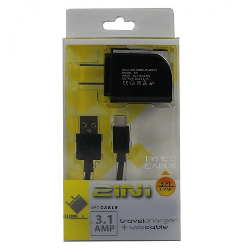 5FT - CHARGER HOME 2IN1 TYPE C 3.1 AMP (HD1TCTPC) - BLACK