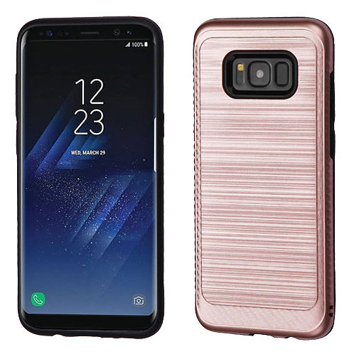 Samsung S8 Plus Rose Gold_Black Brushed Hybrid Protector Cover