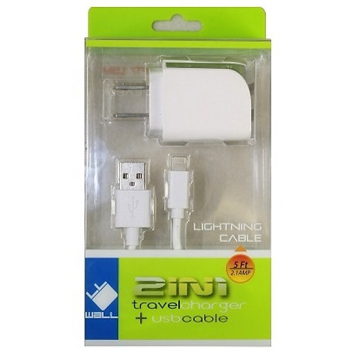 iphone CHARGER HOME LIGHTNING - 2.1AMP 2IN1-White
