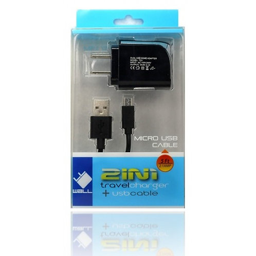 MICRO USB CHARGER HOME - 2.1 AMP 2 IN 1 V9 - WHITE (2)