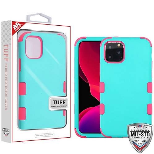 Iphone11 Pro_Rubberized Teal Green_Electric Pink TUFF Hybrid case