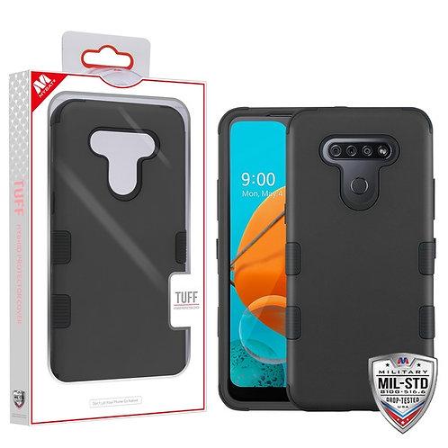LG K51 - Mybat Rubberized Black_Black TUFF Hybrid Phone Protector Cover [Militar