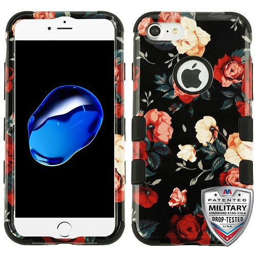 Iphone 7/8 Red and White Roses/Black TUFF Hybrid