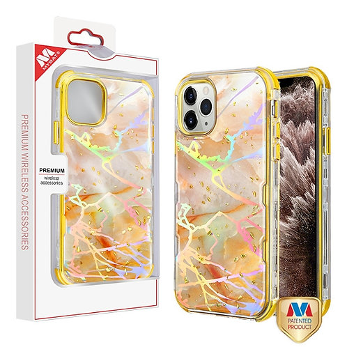 APPLE iPhone 11 Pro Max - Mybat Pale Yellow Marbling_Electroplating Gold TUFF Kl