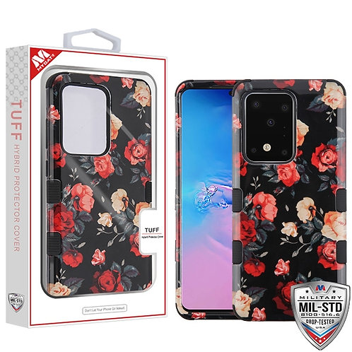 Red and White Roses/Black TUFF Hybrid Phone Protector Cover [Military-Grade Cert