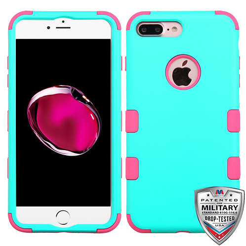 Iphone 7/8 Plus Rubberized Teal Green/Pink TUFF Hybrid