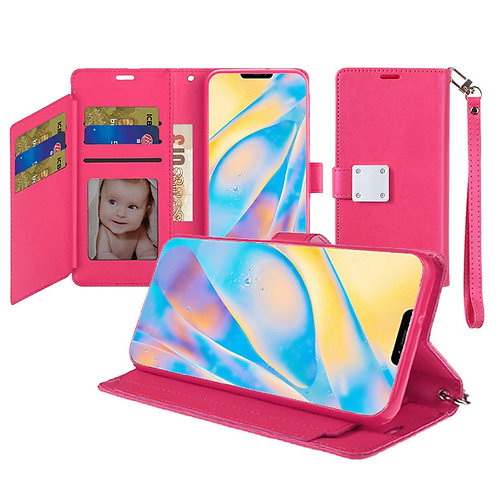 IPHONE 12 (6.1 INCH) WALLET FLIP CASE WITH CARD SLOTS HOT PINK