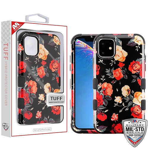 IP11RHPCTUFFIM1035_Red and White Roses_Black TUFF Hybrid Phone Protector Cover