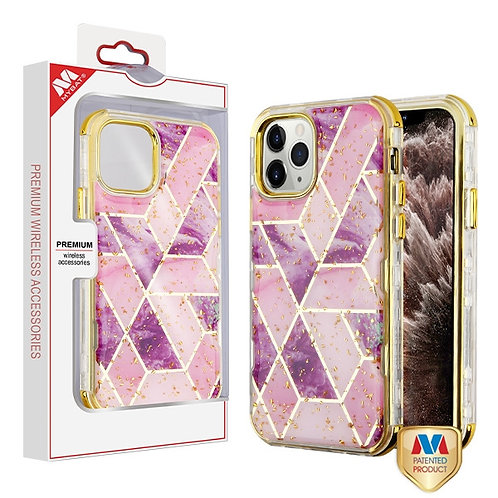 iphone 11pro-Max Electroplated Purple Marble_Electroplating Gold TUFF Kleer Hybr