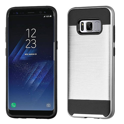 Samsung S8 Plus Silver_Black Brushed Hybrid Protector Cover