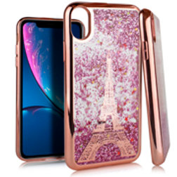 CGCM-IPXR-IM33RGiPhone XR 6.1 CHROME Glitter Motion Paris Tower ROSE GOLD