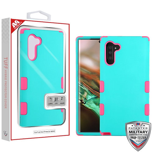 Samsung Note10 Rubberized Teal Green_Electric Pink TUFF Hybrid Protector Cover