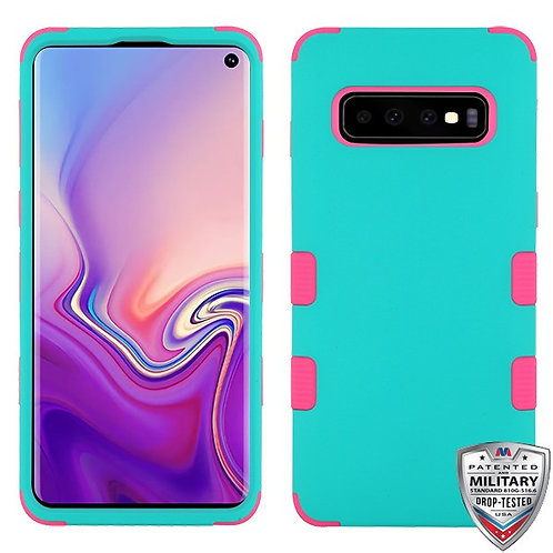 Samsung S10 Rubberized Teal Green_Electric Pink TUFF Hybrid Protector Cover