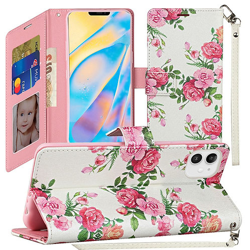 IPHONE 12 (6.1 INCH) WALLET FLIP CASE WITH CARD SLOTS FLOWERS