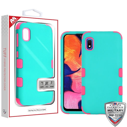 Samsung Galaxy A10E Rubberized Teal Green_Electric Pink TUFF Hybrid Phone Protec