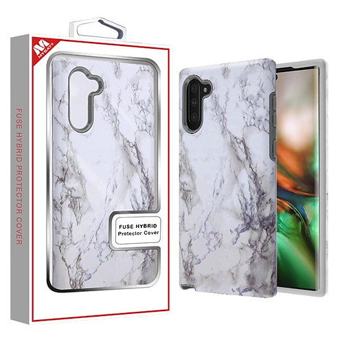 Samsung Note10 White Marbling_Iron Gray Fuse Hybrid Protector Cover