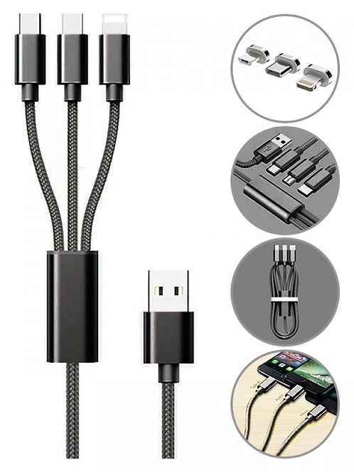 3 in 1 Multi Charging USB Nylon Cable Compatible with Most Smart Phones & Pads (