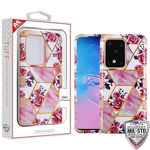 Roses Marble/Rose Gold TUFF Hybrid Phone Protector Cover [Military-Grade Certifi
